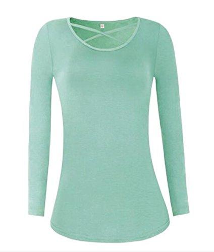 BESTHOO T-Shirt Donna Camicetta Maglia Slim Maglietta Manica Lunga Casual Elegante V-Collo Camicia Slim T-Shirt Comode Sexy Green