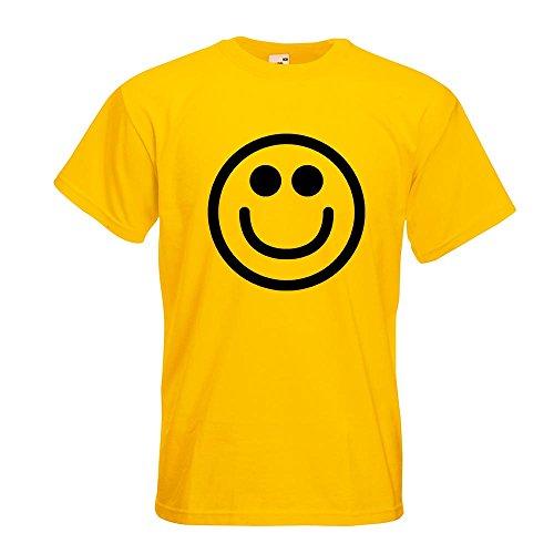 KIWISTAR - Grins-Smiley T-Shirt in 15 verschiedenen Farben - Herren Funshirt bedruckt Design Sprüche Spruch Motive Oberteil Baumwolle Print Größe S M L XL XXL Gelb