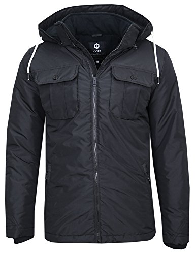 JACK & JONES Herren Winterjacke FLICKER JACKET Black - (Schwarz / Regular Fit)