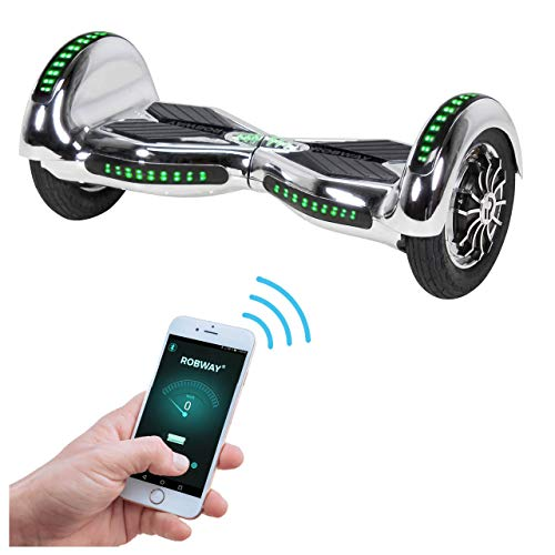 Robway W3 Hoverboard - Das Original - Samsung Marken Akku - Self Balance - 21 Farben - Bluetooth - 2 x 400 Watt Motoren - App - LED (Silber Chrom)