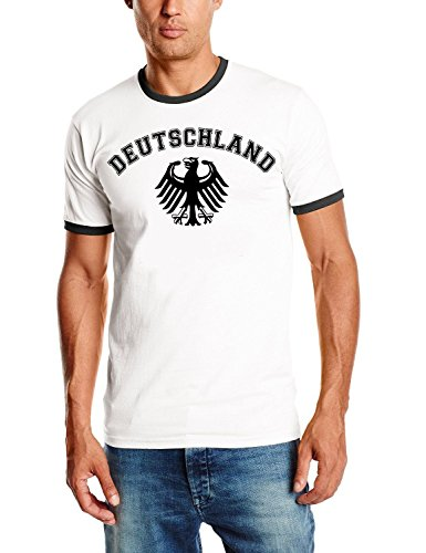 Coole-Fun-T-Shirts Deutschland T-Shirt Ringer weiss, Gr.M