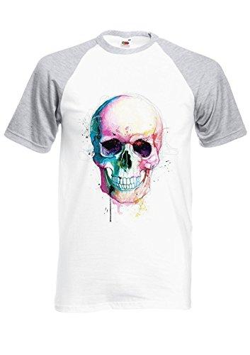 Colour Color Skull Skeleton Tumblr Novelty Royal Sports Grey/White Men Women Unisex Shirt Sleeve Baseball T Shirt-XXL par  NisabellaLTD