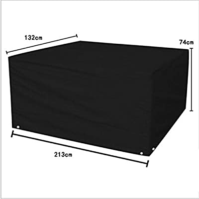 logei Patio Set Cover Waterproof Outdoor Rain Cover for Rattan Cube Garden Furniture Heavy Duty, 213 x 132 x 74, Black