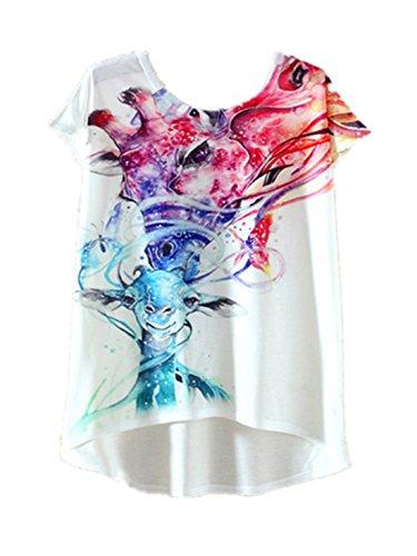 YICHUN Damen T-Shirt Girafe 8#