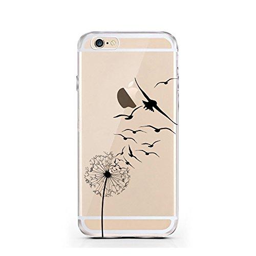 "licaso® iPhone 6 4,7"" TPU Hülle Disney Case transparent klare Schutzhülle Panda Panda-Bär Disney Hülle iphone6 Tasche Cover (Panda 2) Pusteblume Schwalbe"