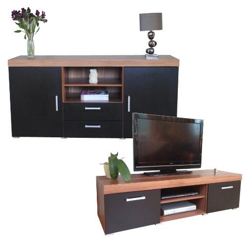 Sydney Black & Walnut Large Sideboard & TV Cabinet 140cm Unit Living Room Furniture Set