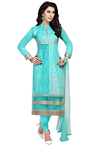 Nikki Fab Sky Blue Camric Cotton Embroidered Unstitched Partywear Dress Material.