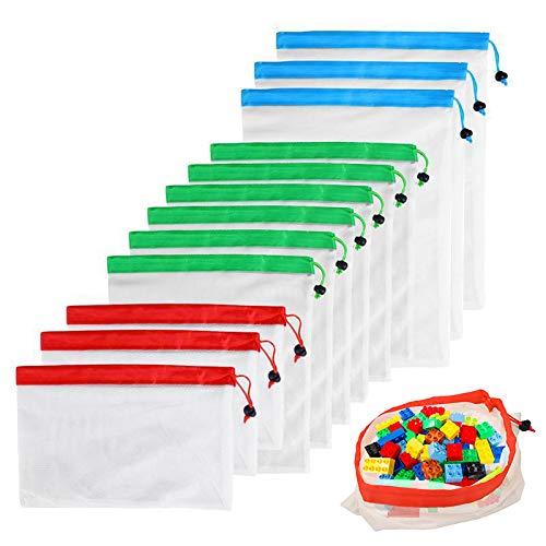 Happyshop18 12 Wiederverwendbare Netzbeutel, umweltfreundlich, waschbar, Aufbewahrungstaschen für Lebensmittel, Gemüse, Spielzeug -