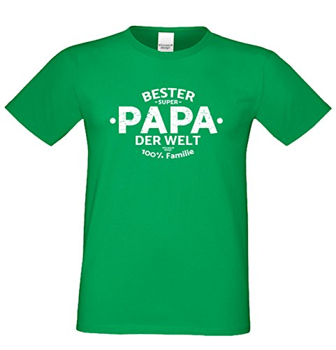 Vatertags T-Shirt - Bester Papa der Welt - cooles Shirt mit lustigem Spruch als Geschenk für den Vater Hellgrün