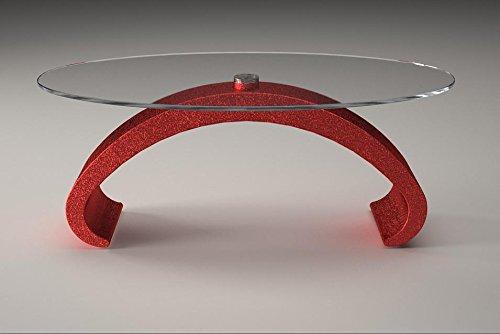 Tavolino da divano base in marmo piano vetro Mod. Mantus - Cm 100 x 65 - Altezza: cm 41 - Finitura: Rosso