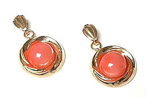 9ct Gold Coral Round drop Earrings