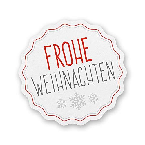 itenga Sticker 10 x Frohe Weihnachten weiß Aufkleber Etikett zum Basteln Weihnachtsgeschenk Wichtelgeschenk Advent Deko