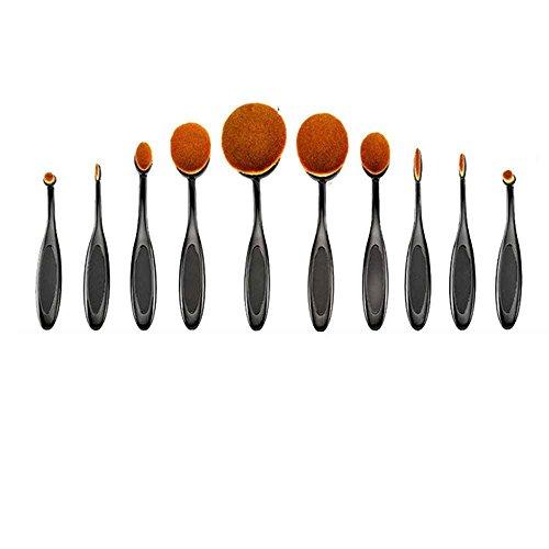 Providethebest Maquillage 10pcs brosse à dents Pro Brosse ovale Set Brosse pinceaux de maquillage de brosse à dents