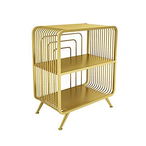 ZHIRONG Nachttisch, Nordisch Modern Eisenkunst Sofa-Beistelltisch 2 Tier Regal Bücherregal Zum Wohnzimmer Schlafzimmer, Gold (größe : 21.5''x12.5''x25.5'') -