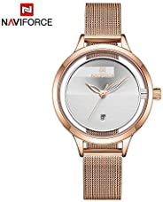 Naviforce Women's White Dial Stainless Steel Mesh Chronograph Watch - NF5014