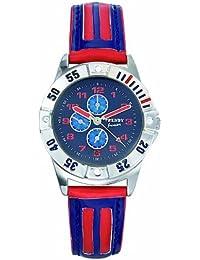 Trendy Kiddy - KL164 - Montre Garçon - Quartz Analogique - Cadran Bleu - Bracelet Cuir Bleu/Rouge