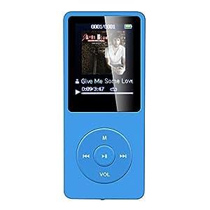 AGPTEK MP3 VERIFIE Lecteur Mp3 Ultra-longue autonomie, jusqu'à 70 heures en veille - Avec Ecran de 1.8'' (soutient la carte mémoire de 64 Go) 8Go, Bleu