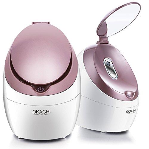 OKACHI GLIYA Nano Ionic Face Steamer Professional Hot Mist Sauna Spa for Opening Pores Blackhead & Acne & Sinus Treatment Portable Inhaler Deep Moisturizing and Cleansing Impurities Personal Home Skin Care - Rose gold