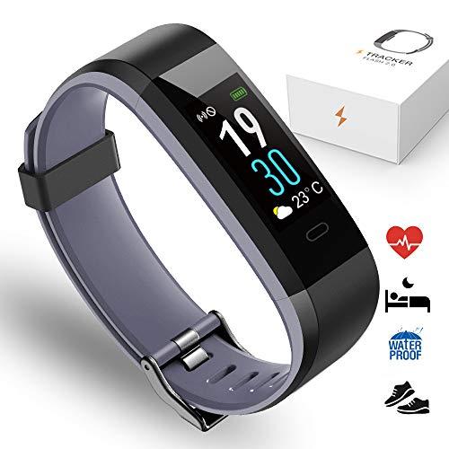 PORTHOLIC Fitness Armband Fitness Tracker mit Pulsmesser IP68 Wasserdichtes-Multisport Fitnessaufzeichnung,Schrittzähler,Schlafmonitor,Kompatibel mit iPhone Android Für Damen,Herren und Kinder