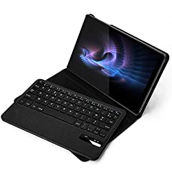 Jelly Comb Clavier Bluetooth Coque pour Samsung Tab A 10.1 2019 Clavier Détachable Étui de Protection en PU Version Samsung Galaxy T515 / T510, Noir