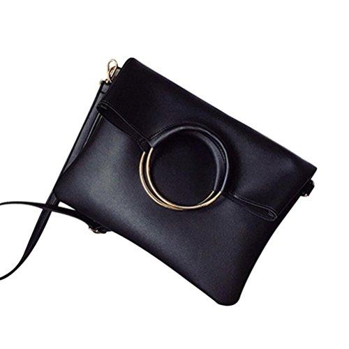 Kangrunmy Borse Tracolla Desigual Moda Donna In Pelle Cerchio Borse A Spalla Con Corssbody Bag + Portafoglio Borse Borbonese Tracolla (Nero)