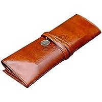 Sannysis® Vintage Cuoio Stile Roll Up cassa di matita sacchetto tasca, borse spazzole, sacchetti cosmetici - Superiore Cowl