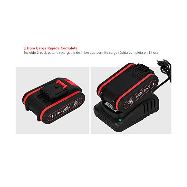 TEENO 20V Taladro Atornillador Bateria, 2 Baterías(2.0Ah), 1H Carga Rápida, 31 Accesorios