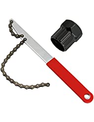 Zilong Llave de cadena para Bicicleta con extractor de casete para instalar o desmontar los piñones del cassette de bicicleta ,para cambiar la cadena de una bicicleta, dos herramientas.