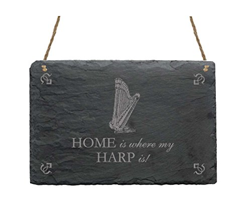 Schiefertafel « HOME IS WHERE MY HARP IS » Schild mit Harfe - ca.22x16 cm - Dekoschild Geschenk Dekoration Musik