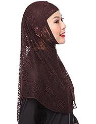 GladThink Encaje de la mujer musulmana 2 Piezas Hijab bufanda
