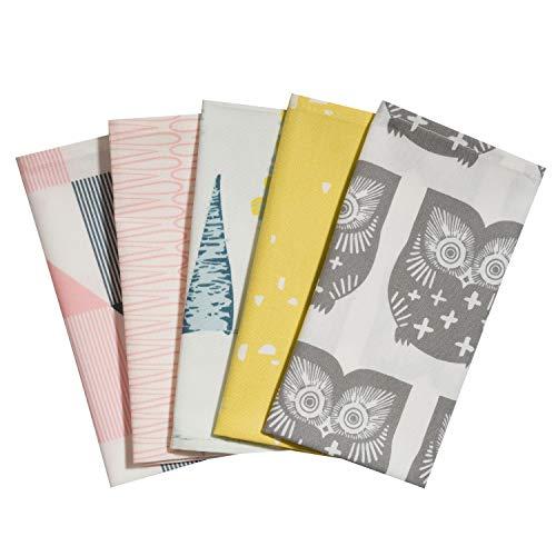 Taschentücher aus Stoff, waschbare, wiederverwendbare Öko Stoff-Taschentücher aus Baumwolle, 5 Taschentücher - Made in Germany (Nachteule)