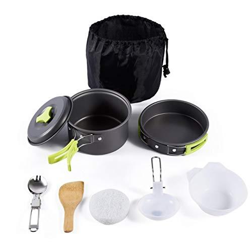WOSOSYEYO 8PCS Herramienta de Cocina al Aire Libre portátil Picnic BBQ Pot Pan Plate Cup Set Juego de vajilla de Acero Inoxidable Cubiertos Camping Juego de Utensilios de Cocina