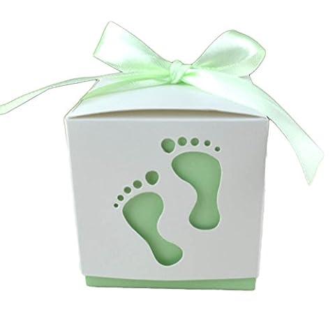 Westeng Süßigkeits-Kasten-Plätzchen-Kasten-Wrapper mit Fuß-Druck und Banddekoration für Babygeburtstags-Hochzeits-Bänder Partei oder Geburtstag (Grün)