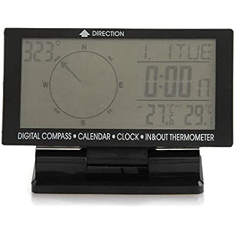 ETGtek 1PCS coche brújula digital con reloj Pantalla LCD cubierta Temperatura / al aire libre de