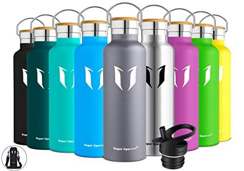 Super Sparrow Trinkflasche Edelstahl Wasserflasche - 750ml - Isolier Flasche mit Perfekte Thermosflasche für Das Laufen, Fitness, Yoga, Im Freien und Camping | Frei von BPA (Grau) - Glas Isolierflasche
