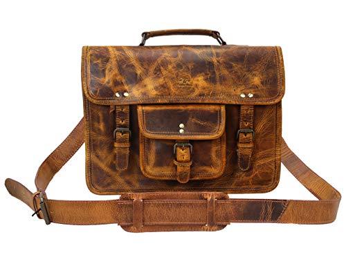 Aktentasche Leder Herren Vintage groß Klassische Arbeitstasche Bürotasche Umhängetasche Dokumententasche mit Laptopfach 13,3 Zoll (braun) ()