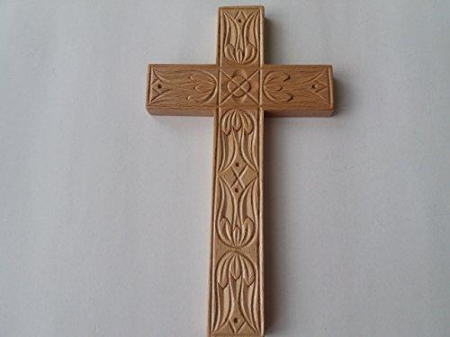 Kunsthandwerk natur 21x12 cm buchen Holz Kreuz, religiöses katholisches Christian Symbol Geschenk für Taufe, erste Kommunion, dekorative Wand Kreuz Kruzifix Handgeschnitzt