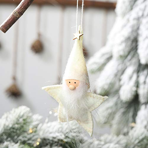 vijTIAN - Ciondolo Creativo a Forma di Bambola a Forma di Pentagramma, da Appendere all'albero di Natale, aggiunge un'atmosfera Festiva Bianco