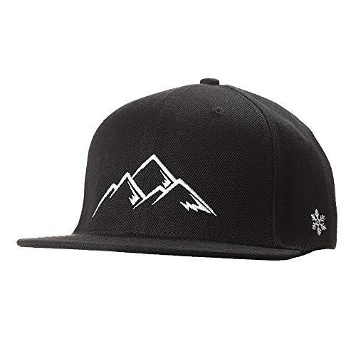Snapback Caps Herren & Damen - Cap in schwarz weiß - Berge, Mountain- Schwarzwald Cap - Einheitsgröße, one Size - Cap mit Stick