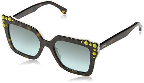 Fendi ff 0260/s eq c9k 52, occhiali da sole donna, bianco (havana white/green aqua)