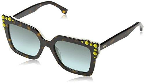 Fendi Damen FF 0260/S EQ C9K Sonnenbrille, Weiß (Havana White/Green Aqua), 52