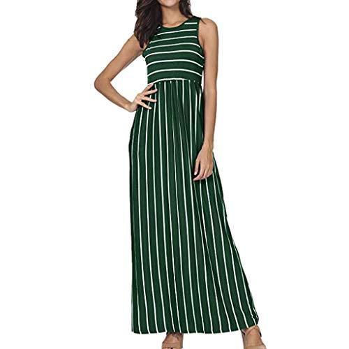 Zegeey Damen Kleid Sommer Kurzarm Schulterfrei Einfarbig Blumenkleid Maxi Kleid A-Linie Kleider Vintage Elegant LäSsige Kleidung Rundhals Basic Casual Strandkleider(W7-Grün,XXL)