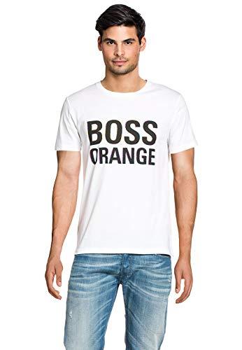 BOSS Orange Herren Straight Leg T-Shirt 10131643 01, Gr. Small (Herstellergröße: S), Weiß (White 100)