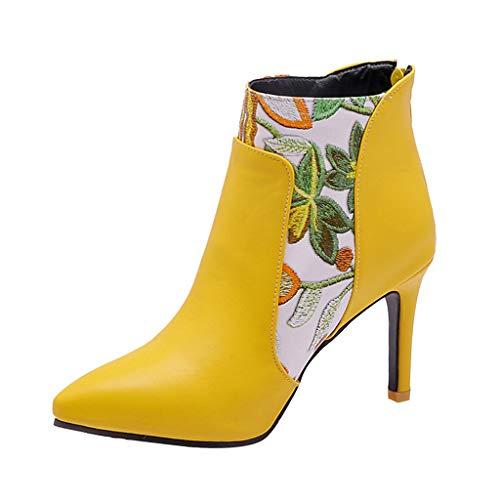 Geilisungren Stiefeletten Damen Kurzschaft Blumen Druck Lederstiefel Spitz Ankle Boots mit Pfennigabsatz Frauen Elegante Hoher Absatz Party Boots Übergrößen Reißverschluss Abend Stöckelschuhe (Braune Slouch-stiefel Frauen)