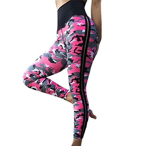 Apragaz Lässige Yogahose Für Damen Elastische Sporthose Mit Hoher Taille Atmungsaktives Camouflage-Fitness-Workout Sportliche Trainingsgamaschen (Color : Rosa, Size : L) -