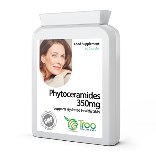 Phytoceramides 350mg 60 Capsules - Plant Derived Ceramides Support Supplement To Help Maintain Younger, Wrinkle Free Skin. UK Manufactured GMP Guaranteed Quality Test