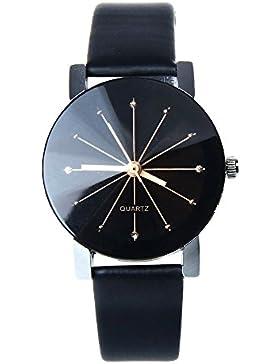Sunnywill Neue Leder Quarz Zifferblatt Uhr Handgelenk Runde Uhrengehäuse für Frauen