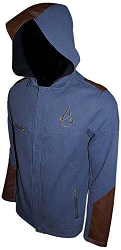Assassins Creed Unity Denim Finish Premium Leichte Jacke Mit Angeschnittene Kapuze (groß, blau)