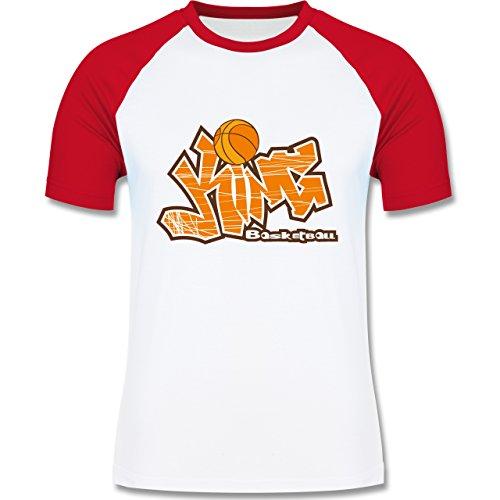 Basketball - Basketball King - zweifarbiges Baseballshirt für Männer Weiß/Rot