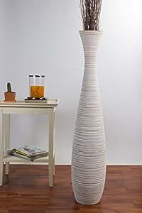 Leewadee Grande Vaso da Terra 112 cm, Legno di Mango, White Wash